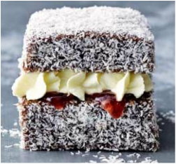 Lamington filled with cream & jam