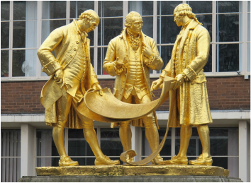 gilded bronze statue of Matthew Boulton, James Watt and William Murdoch by William Bloye and Raymond Forbes-Kings