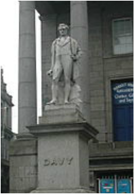 statue of Humphrey Davy stands in Penzance, Cornwall