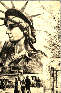 1878, the completed head of the Statue of Liberty was showcased