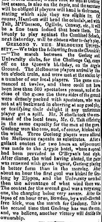 Melbourne v Geelong football club 1864