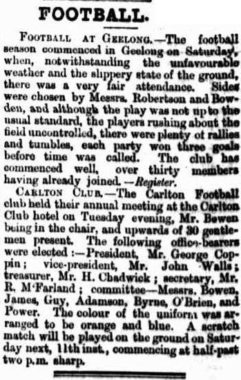 Football 1867- Carlton & Geelong football clube