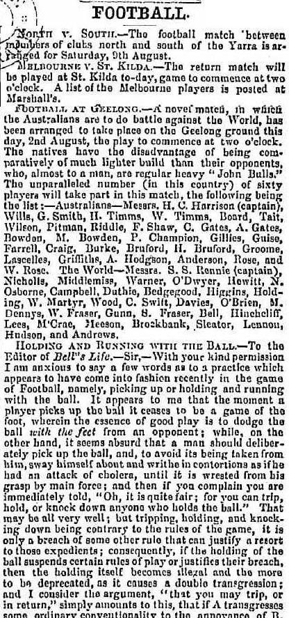 Football Clubs North of the Yarra v South of the Yarra 1862