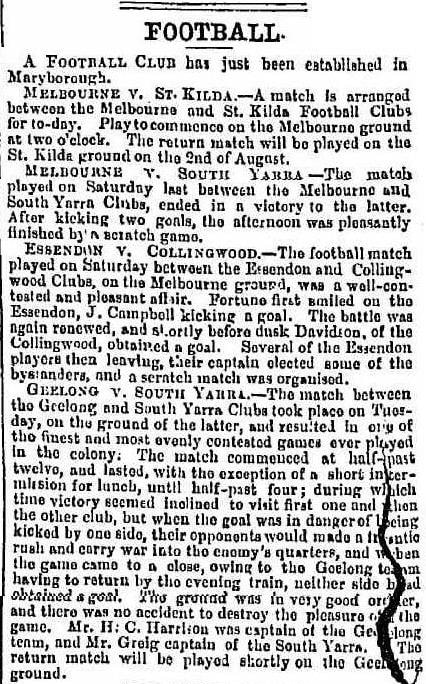 Maryborough Football club 1862, Essendon v Collingwood 1862