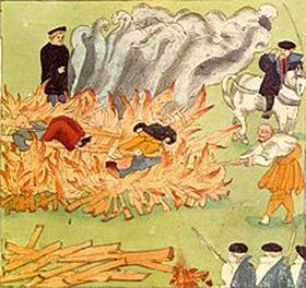 execution by burning of three alleged witches in Baden, Switzerland in 1585