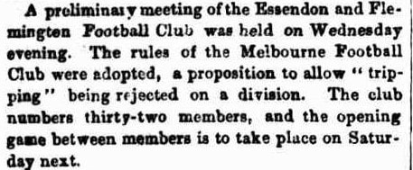 Flemington & Essendon football club 1862