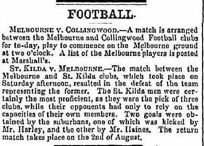 Melbourne, Collingwood, St. Kilda Football clubs 1862
