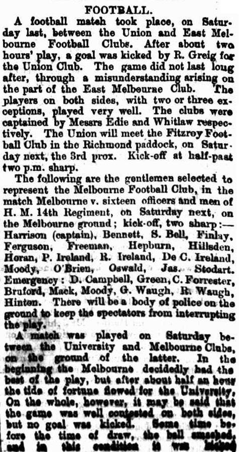 Union & East Melb. F.C., M.F.C. v H.M. 14th Regiment 1867