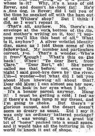 Parcel From Home, a Soldier's Story, The Daily News Perth, W.A. 1918
