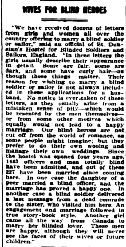 Wives for Blind Heroes, Sunday Times Perth, W.A., Sunday 19 October 1919