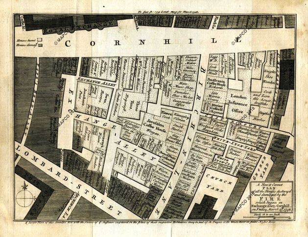 All The Houses Destroyed And Damaged By The Fire (darkened) Which Began In Exchange-Alley, Cornhill, On Friday, March 25th, 1748