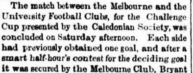 University & Melbourne Football Clubs, Challenge Cup 1863