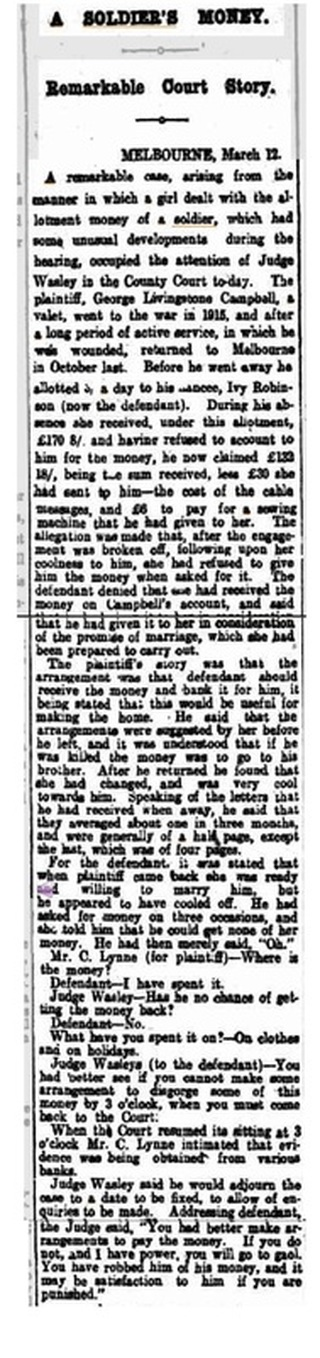 A Soldier's Money, The Register Adelaide, SA  13 March 1919