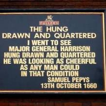Outside the Hung, Drawn & Quartered pub in Tower Hill, London