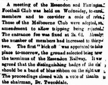 Flemington & Essendon Football clubs first kick off 1862