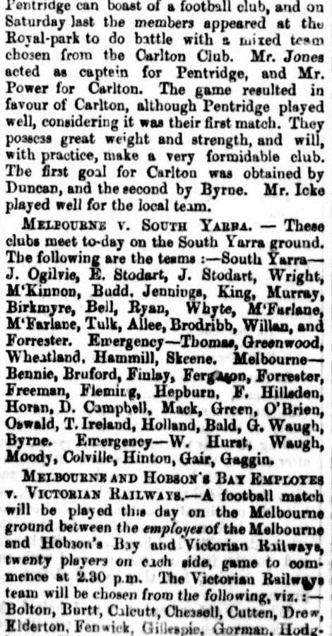 M.F.C. & Hoaon's Bay v Railways, Carlton v Pentridge 1867