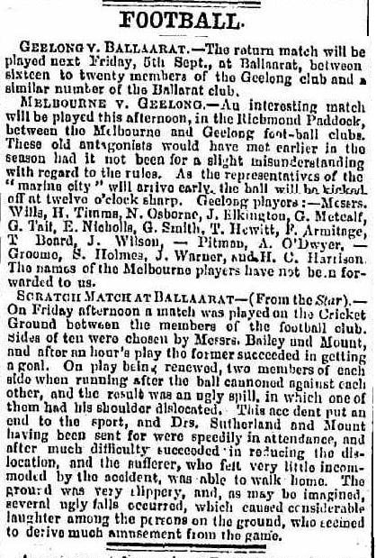 Football clubs 1862- Geelong, Melbourne & Ballarat