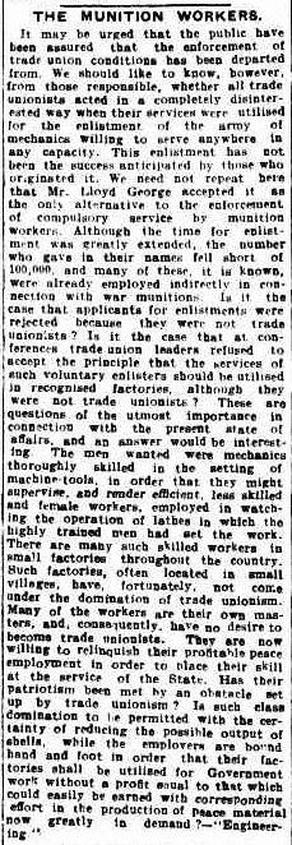 Munition Workers, The Brisbane Courier Qld.  9 September 1915
