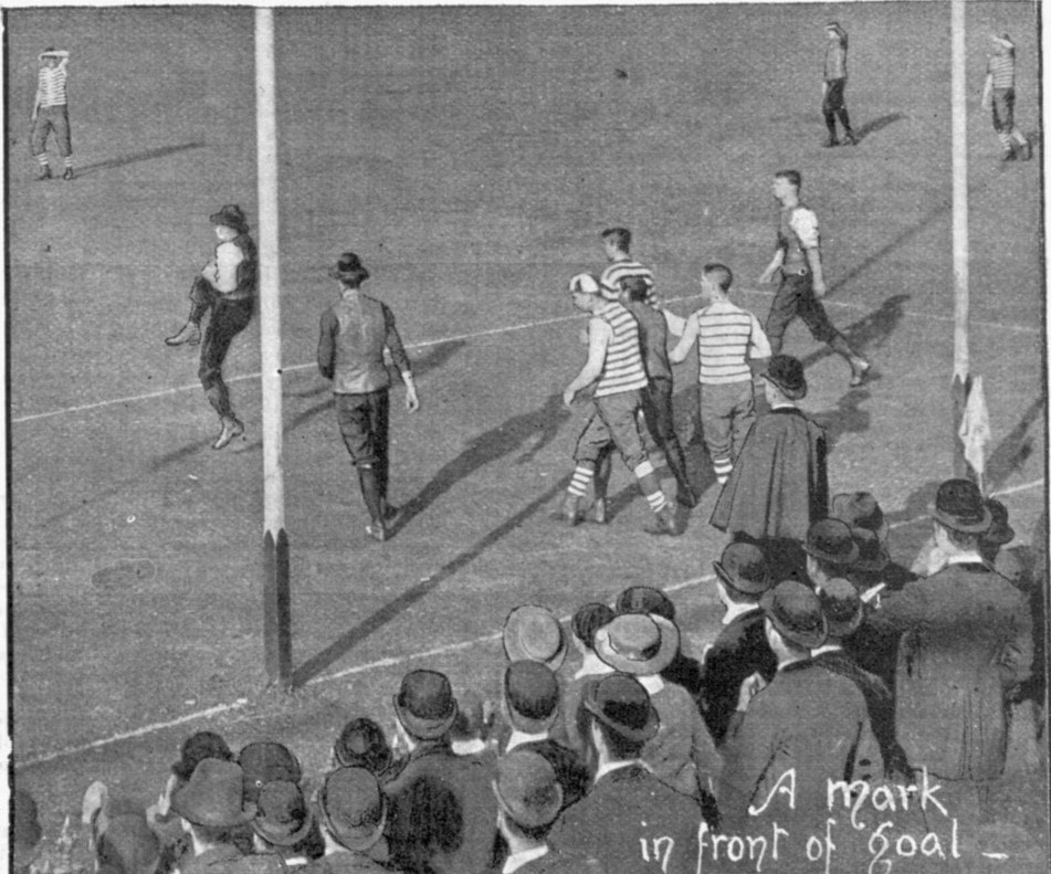 A Mark in front of a goal, Aussie Rules Football 1895