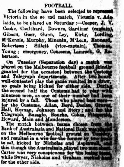 Victorian football match 1879- Customs Dept v Telegraph Dept, National Bank v Bank of Australasia