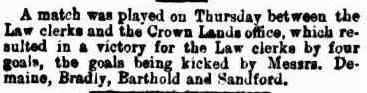 Victorian football match Crown Lands Office v Law Clerks 1875
