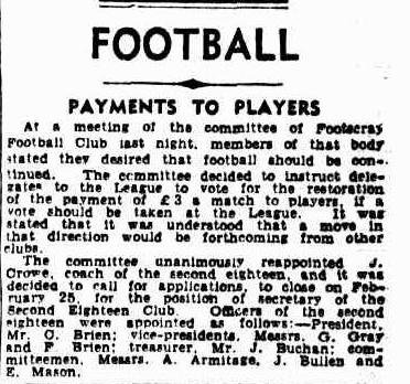 Payments to Victorian footballers to continue WW2