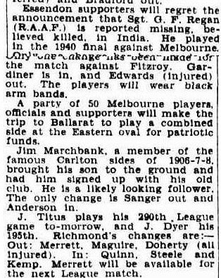 An Essendon player missing, believed dead, in India, WW2 1943