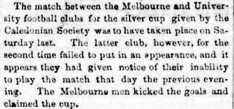 University v Melbourne, for the Challenge Cup 1862