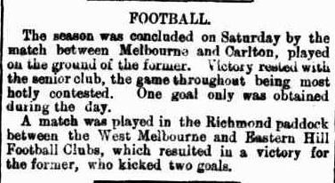 Wedt Melbourne v Eastern Hill, Melbourne v Carlton football 1871