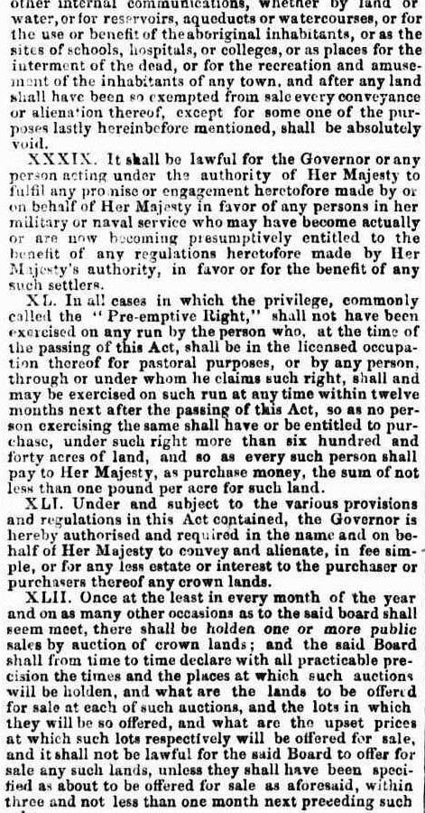 A BILL TO REGULATE THE SALE AND OCCUPATION OF CROWN LANDS Australia 1857