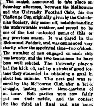 University v Melbourne Football Challenge Cup no Victory 1863