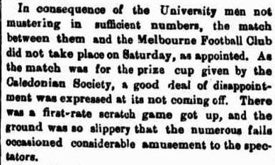 Melbourne Football club Aussie Rules April 1860