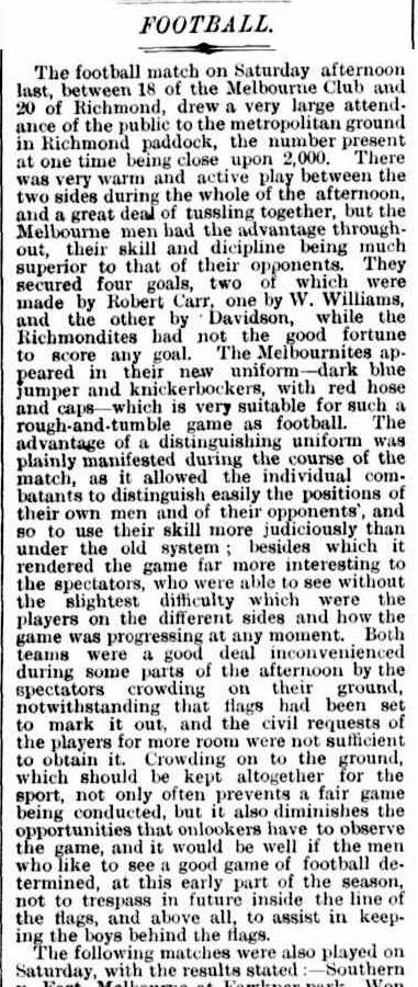 Melbourne v Richmond 1873 wearing knickerbockers
