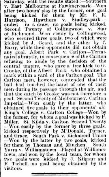 Carlton, Sth Yarra, Williamstown, Albert Park Football clubs 1873