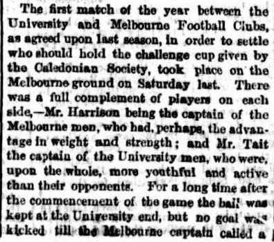 Melbourne v University Football for Challenge cup 1863