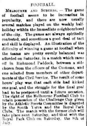 Melbourne football club v Suburbs 1865