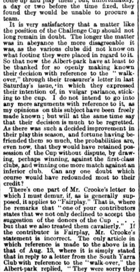 Summary of the 1870 football season Victoria