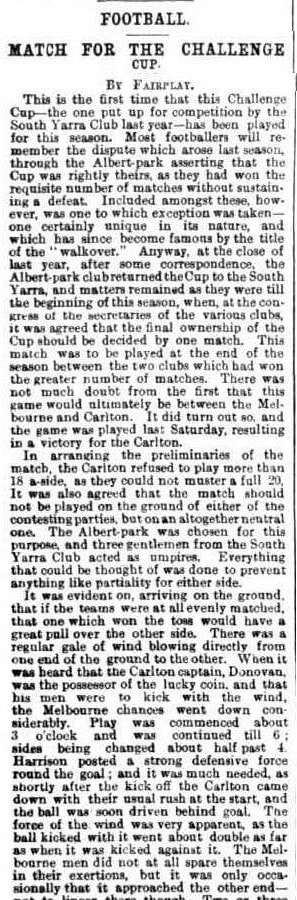 Carlton, Sth Yarra, Melbourne Football clubs 1871