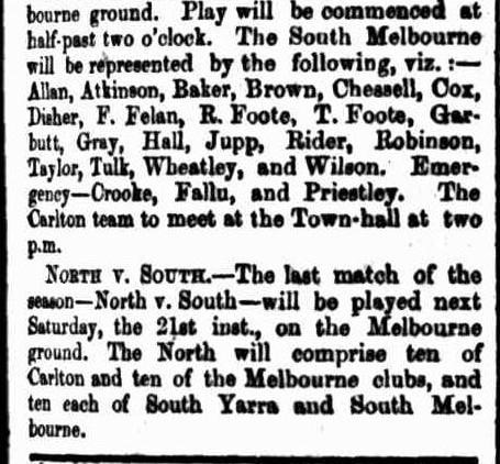 Carlton v South Melbourne football 1867