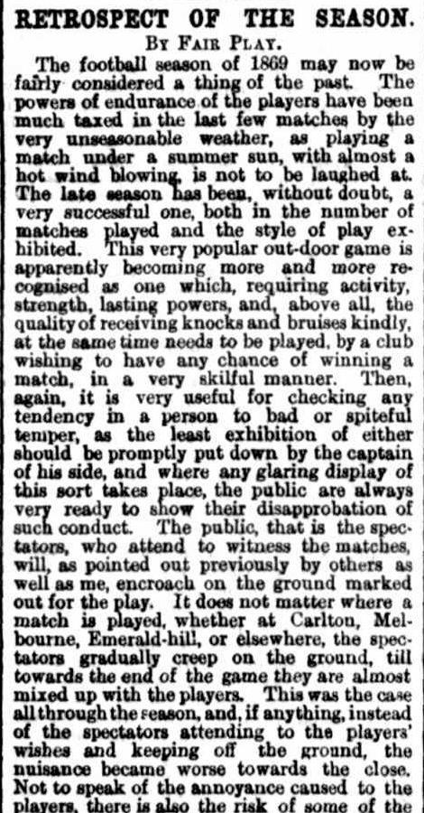 Summary of the football season 1869 Victoria