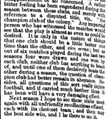 ​​Summary of the football season 1869 Victoria