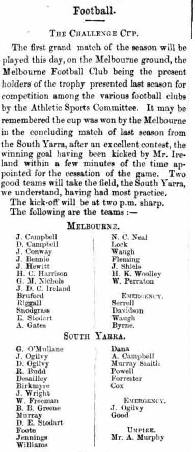 Challenge Cup Football 1866, Melbourne & South Yarra F.C.