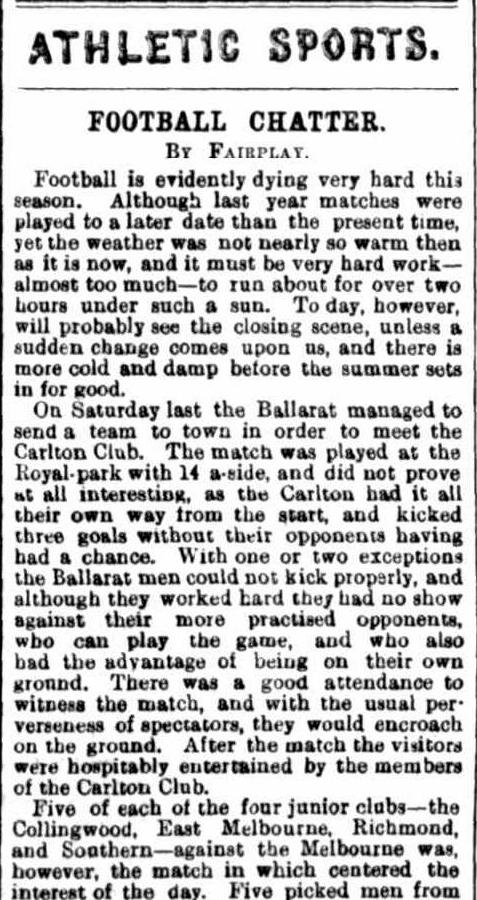 Football clubs 1872- Ballarat, Carlton, Collingwood
