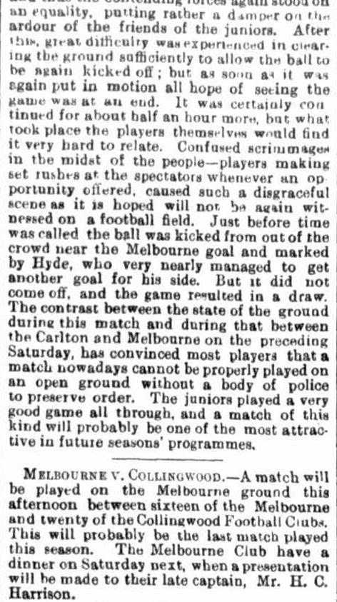 Melbourne, Collingwood Carlton Football Clubs 1872