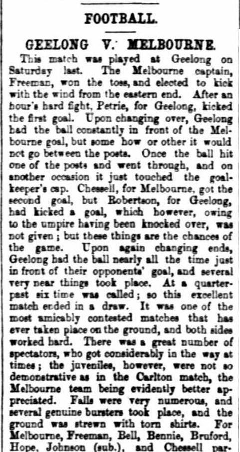 Last game of season 1868, a draw Geelong v Melbourne Football