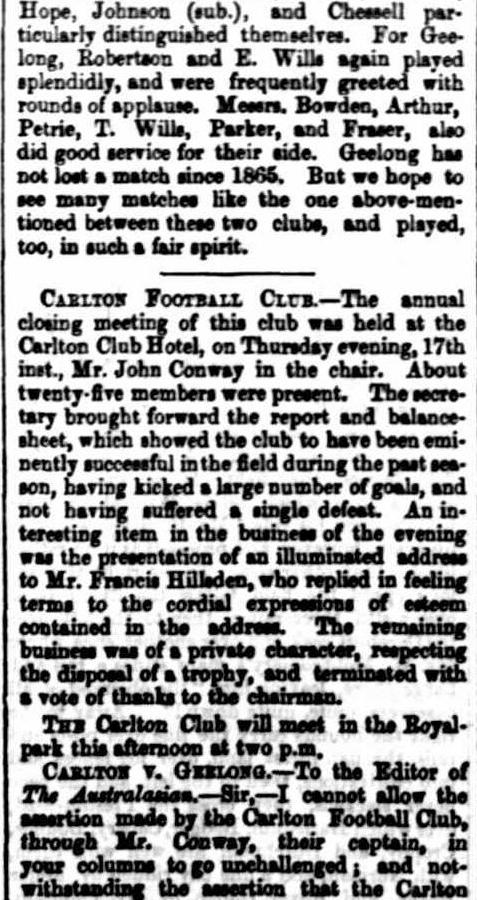1868 Carlton Football club