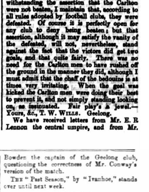 1868, Geelong hadn't lost a game since 1865