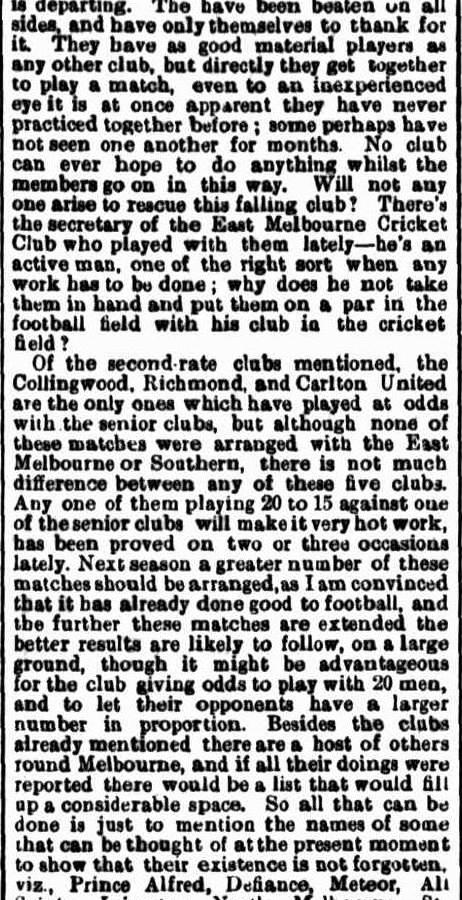 Football clubs 1871- Collingwood, Richmond, Carlton, Melbourne