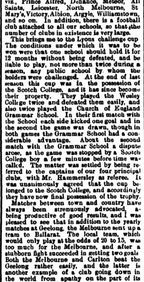 Football clubs 1871- North Melbourne, Williamstown, St. Mary's, Albion