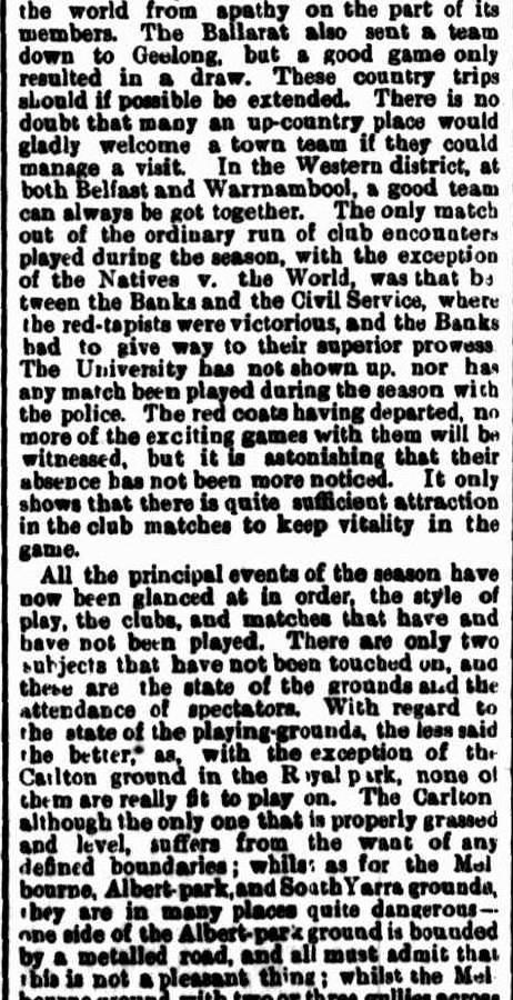 Football clubs 1871- Ballarat, Geelong, Warrnambool, University, Albert Park